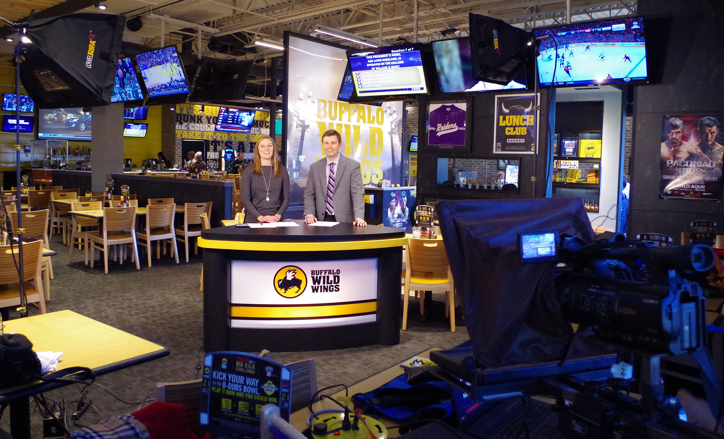 Shooting an episode of Wing TV for Buffalo Wild Wings