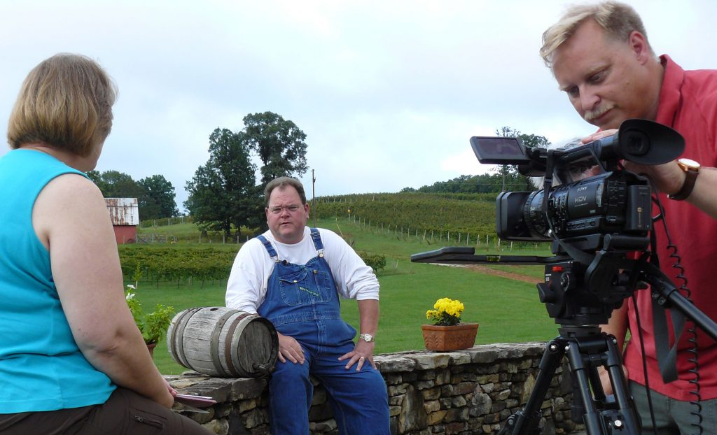 Jim Zons interviewing Doug Paul, owner of Three Sisters Winery in Dahlonega, GA